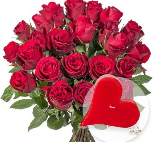 23 rote Rosen und JuwelKerze Sweetheart