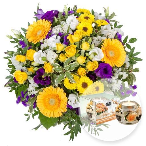 Blumenstrauß Bonjour und Kerze Dreamlight - Alles Gute