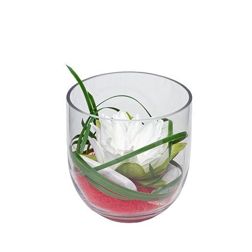 Deko-Glas mit Seerose in weiß