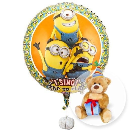 Singender Ballon - Geburtstagsgrüße lachende Minions und Teddy