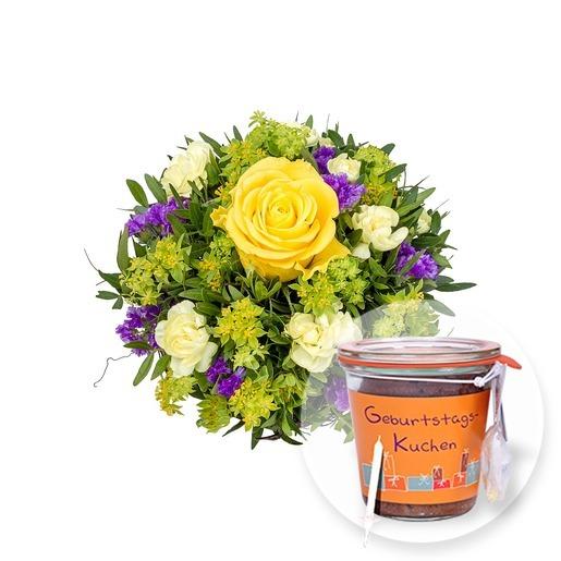 Blumenstrauß Friends und Kuchen im Glas