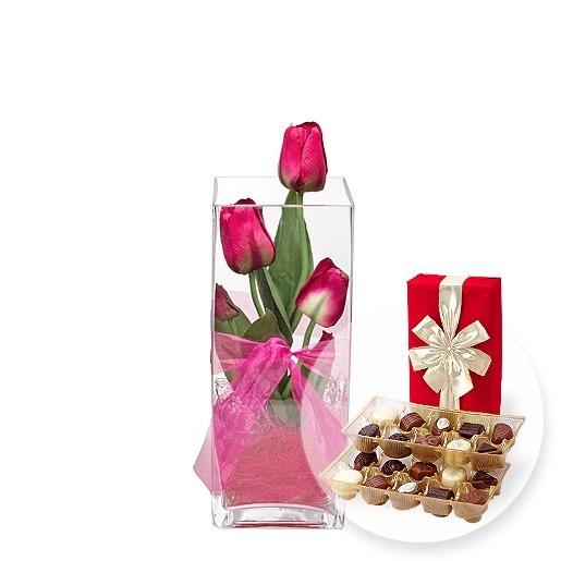 Deko-Vase Tulpen Pink (30cm) und Belgische Pralinen