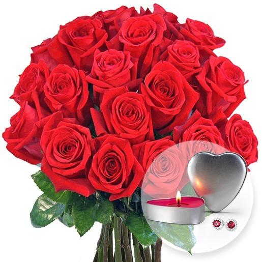 20 langstielige rote Premium-Rosen und JuwelKerze Sweetheart