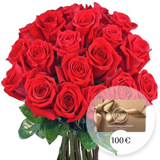 20 langstielige rote Rosen und CHRIST Geschenkgutschein 100 EUR