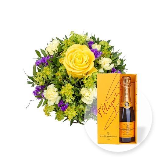 Blumenstrauß Friends und Champagner Veuve Clicquot